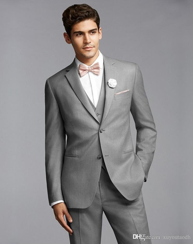 Custom Made 2018 Light Gray Homens Ternos de casamento para o homem Noivo Goomsmen Best Men Formal Slim Fit Skinny smoking Prom Party 3piece