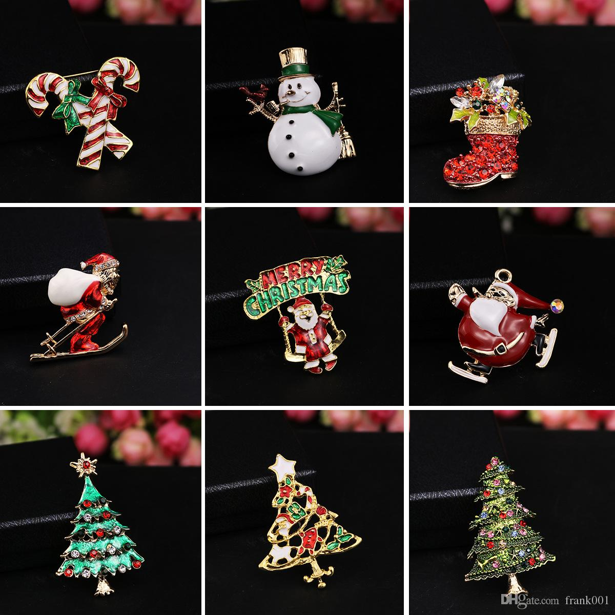 New Fashion Christmas color stone brooch Santa Claus socks and The Christmas tree with Rhinestone for Women Jewelry Pins