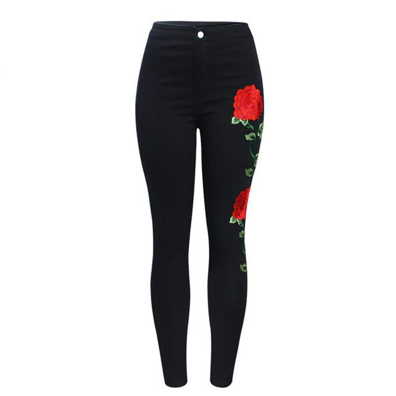 Pantalones vaqueros bordados negros de cintura alta ajustados sin mujer rasgada Pantalones de mezclilla florales de moda Pantalones para mujeres Jeans