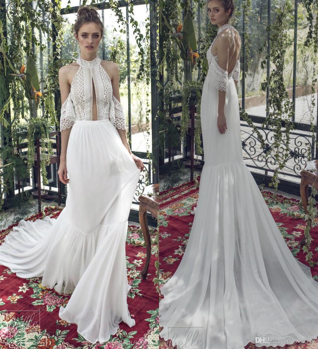 Limor Rosen 2019 Wedding Dresses Halter Lace Chiffon Applique Backless Train Plus Size Wedding Dress Beach Boho Bridal Gowns Robe De Mariée