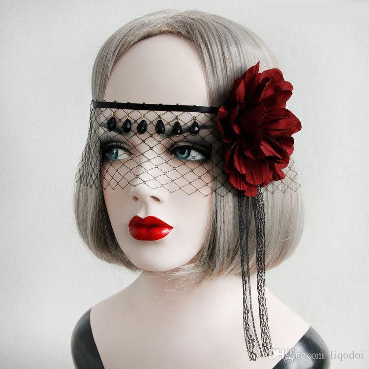 الأميرة القوطية لوليتا الاكسسوارات خمر الأسود الرباط الأحمر روز مثير غامض قناع غطاء الوجه الحجاب غطاء الرأس حزب