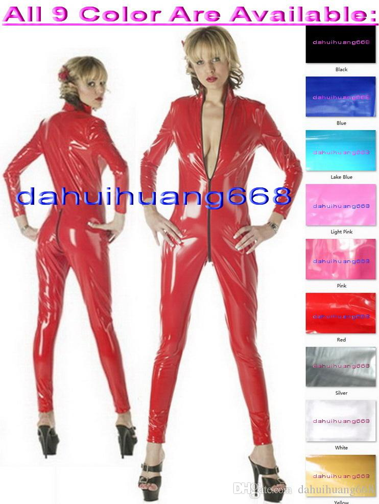 Sexy Shiny PVC Body Suit Costumes Unisex New 9 Color Shiny PVC Suit Catsuit Costumes Halloween Party Fancy Dress Cosplay Costumes DH196