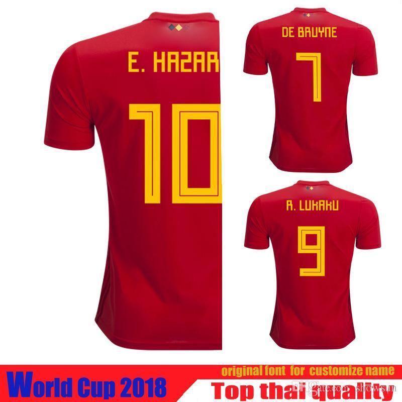 on sale 91916 d292a 2019 2018 World Cup Belgium Jersey THAI Quality Soccer Jersey DE BRUYNE E  HAZARD R LUKAKU Football Shirt Camisetas De Futbol Jerseys From Showsun, ...