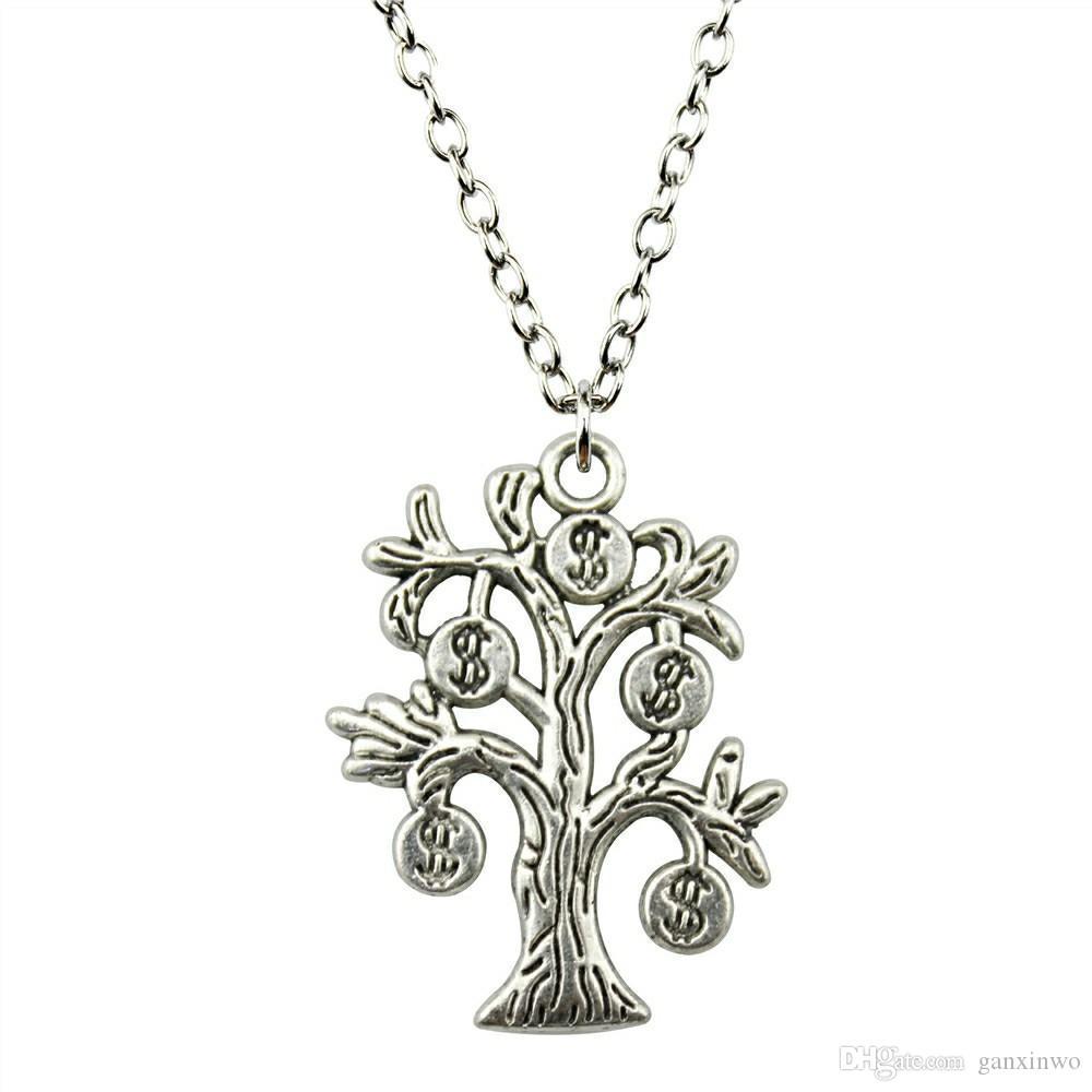 WYSIWYG 5 штук металлические цепи ожерелья подвески ручной работы ожерелье мужчины деньги дерево 29x22mm N2-B10524