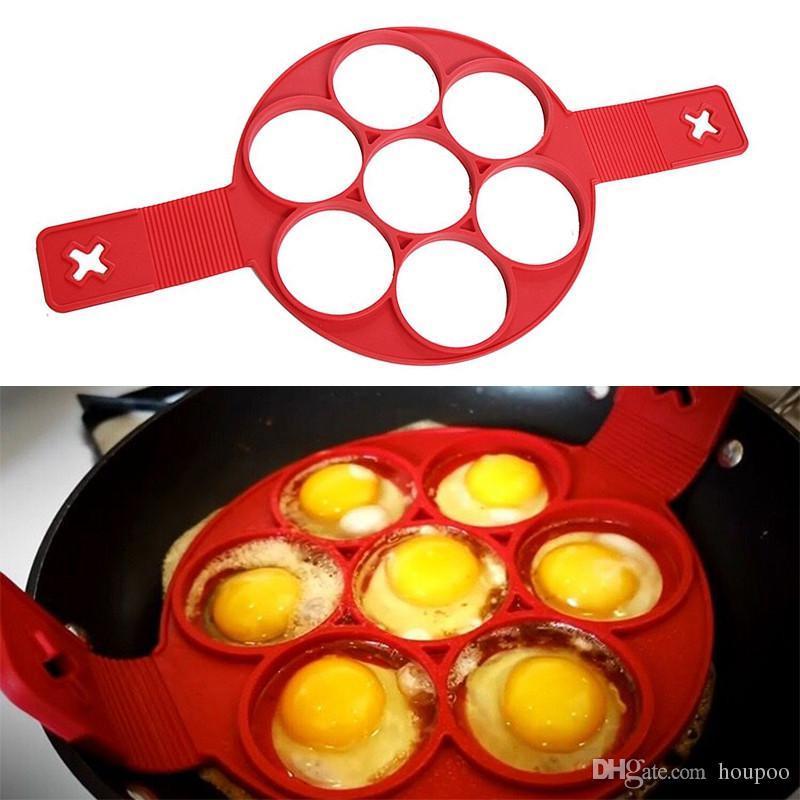 Toplu Sürü 7 Izgaralar Yapışmaz Flippin Gözleme Pan Flip Omlet Flipjack Kalıp Maker Pişirme Ev Araçları Zanaat Malzemeleri Mutfak Aksesuarları