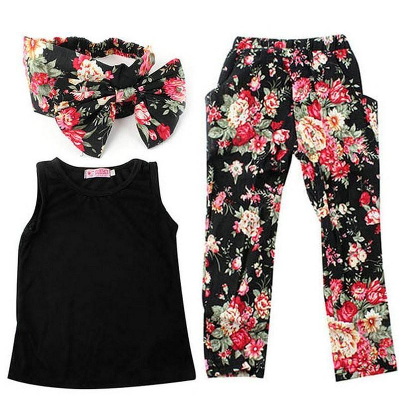 Девушки мода цветочные повседневная костюм рубашки без рукавов + оголовье + брюки 3 шт./компл. Детская одежда набор 2018 новый летний Детская одежда