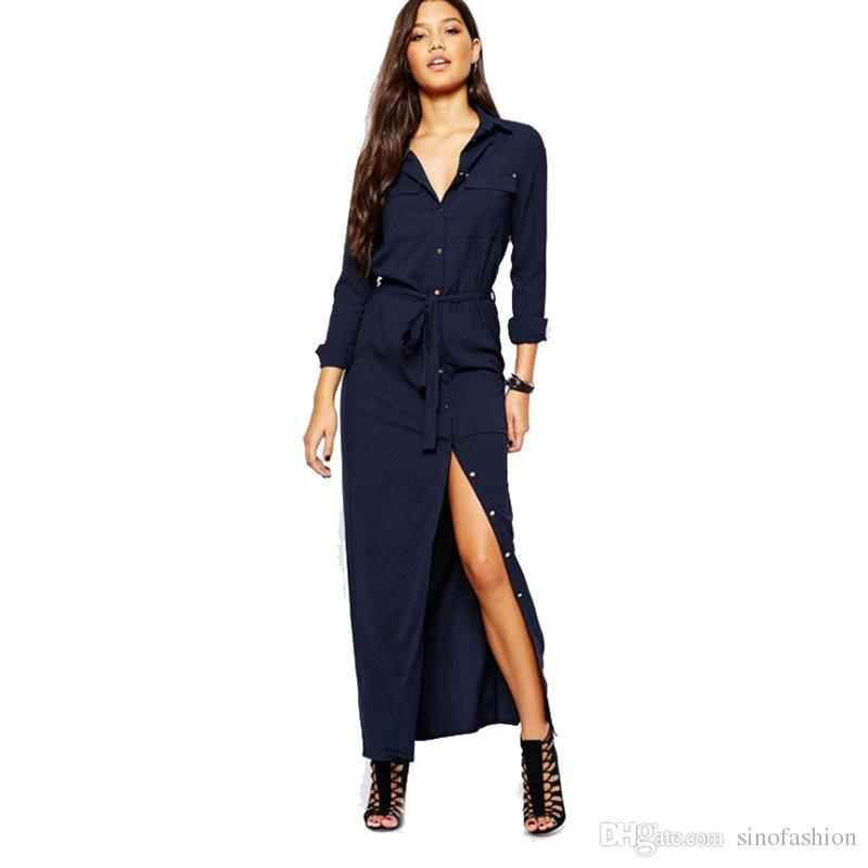 Vintage Long Denim Shirt Dress Women Lapel Side High Split Straight Jeans  Maxi Dress Single Breasted Front Pocket Button Casual Plus Size Dresses On  ...