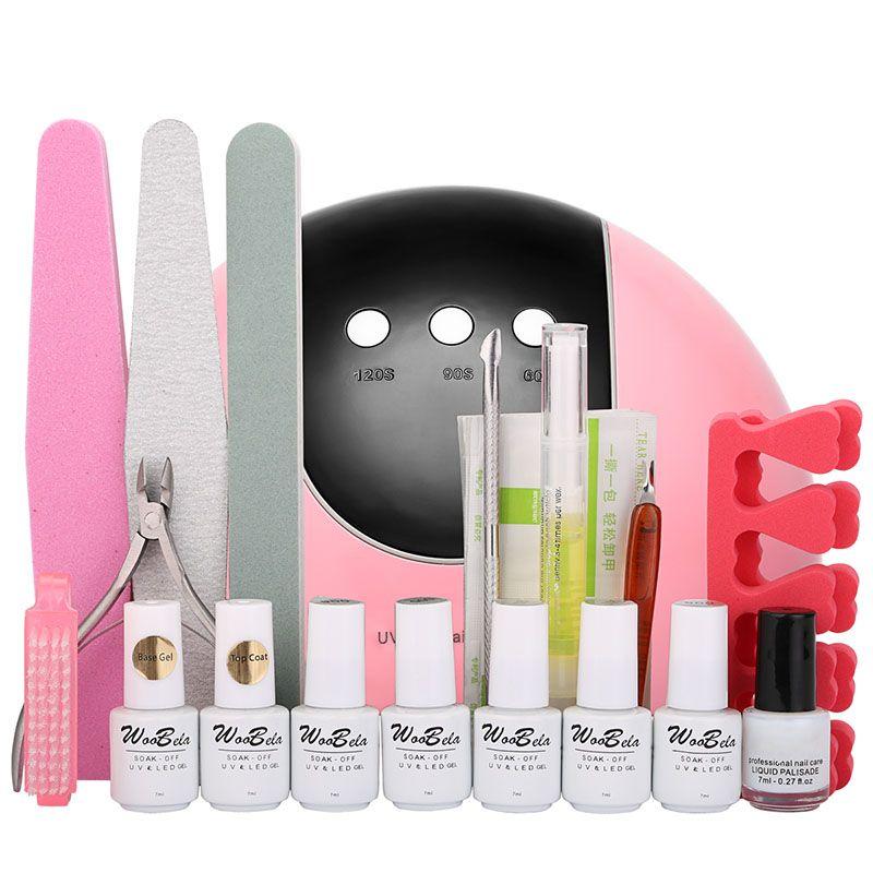 Woobela 24 Вт ногтей лампа набор 5 цветов Led УФ-гель лак для ногтей Набор DIY акриловые искусство практика комплект маникюрные инструменты