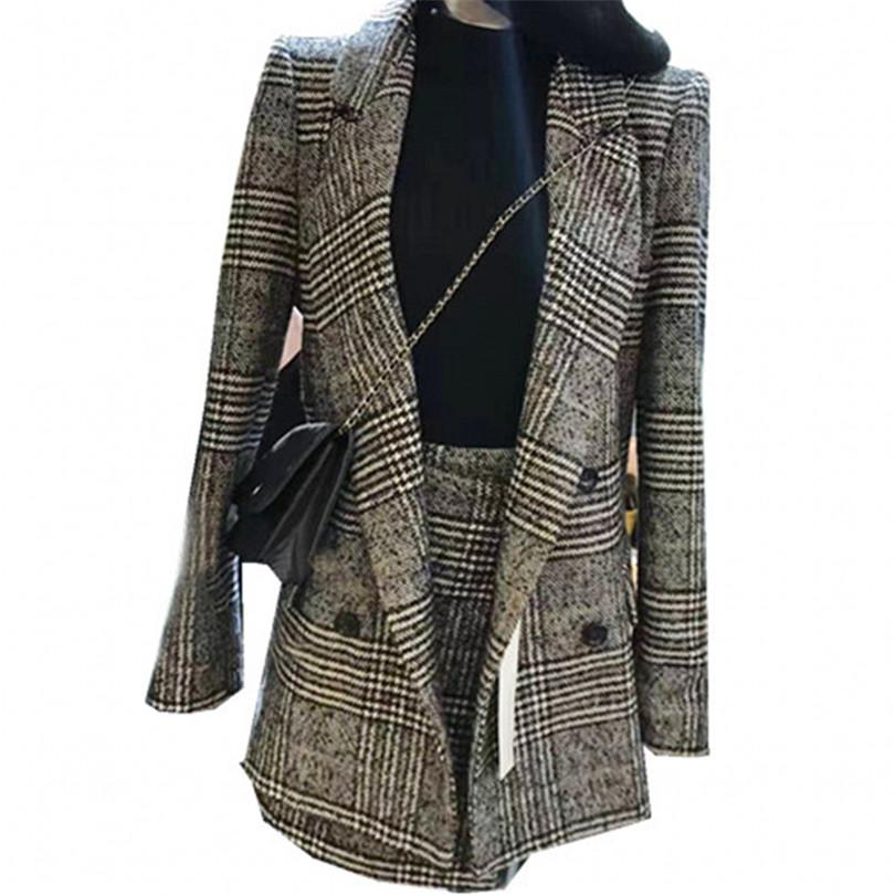 Two-pieces Set Autumn Winter Women Houndstooth Skirt Suits Casual Woolen Plaid Blazer + Skirt Set Suits Female Office A784