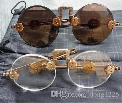 Old Republic of Shanghai antique natural crystal glasses pure copper frames retro sunglasses Wenwan glasses video