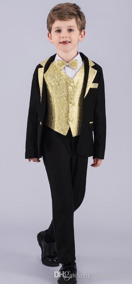 Nuovo design Notch Risvolto Black Boy Formal Wear Bel ragazzo Kid Abbigliamento Matrimonio Usura Festa di compleanno Prom Suit (giacca + pantaloni + cravatta + gilet) 26