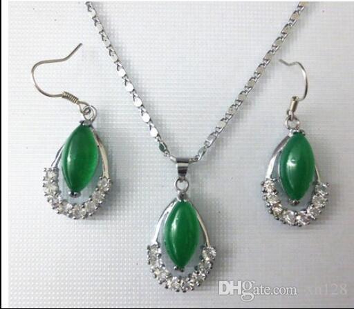 Изумрудный Малайский нефрит ожерелье / кулон / серьги набор 2 мода наборы