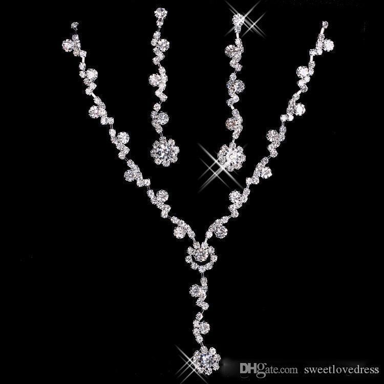 Auf lager mode funkeln strass braut halskette ohrringe set kristall schmuck schmuck für prom party hochzeit billiger