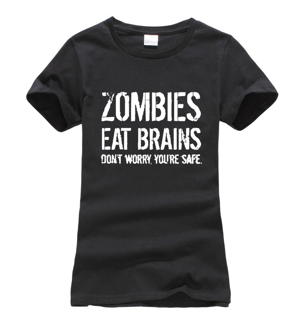 Zombies Eat Brains so You're Safe print women t-shirt 2017 summer fashion harajuku  korean tee shirt femme funny punk tops