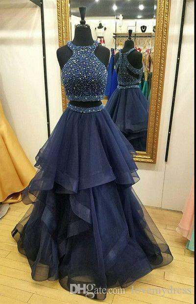 Halter Two Pieces Lace Sequins Ruffles Formal Pageant Dress Graduate Prom Gowns