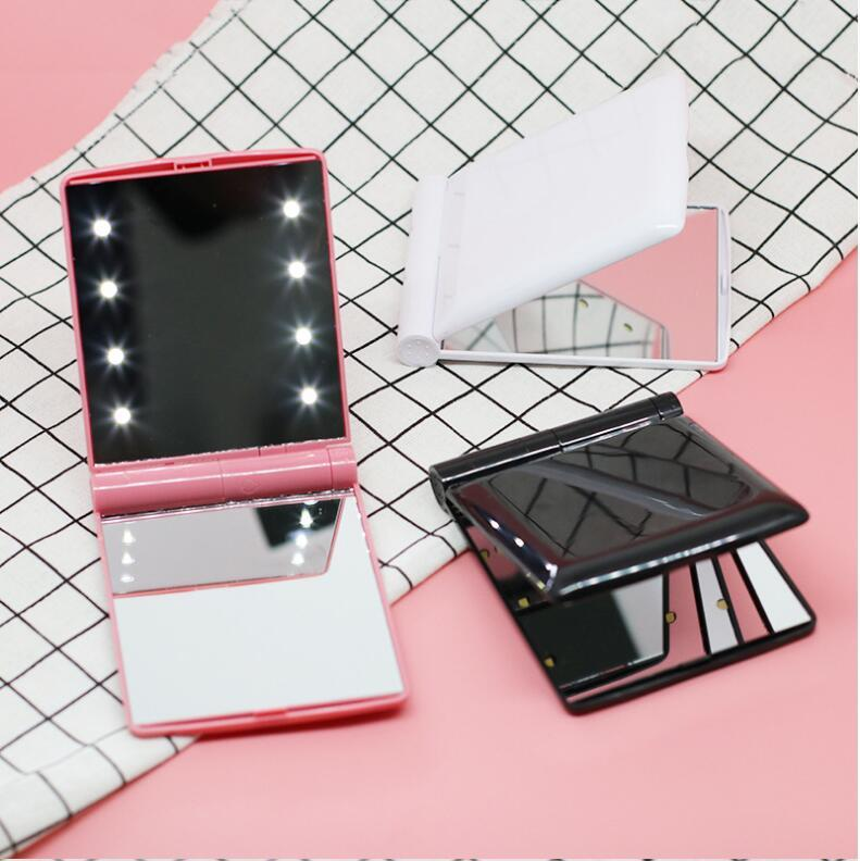 Vanity Light Maquillage Miroir Portable Kit de maquillage Portable Double côté Mini taille Vanity Miroir pliable 2018 Nouveau