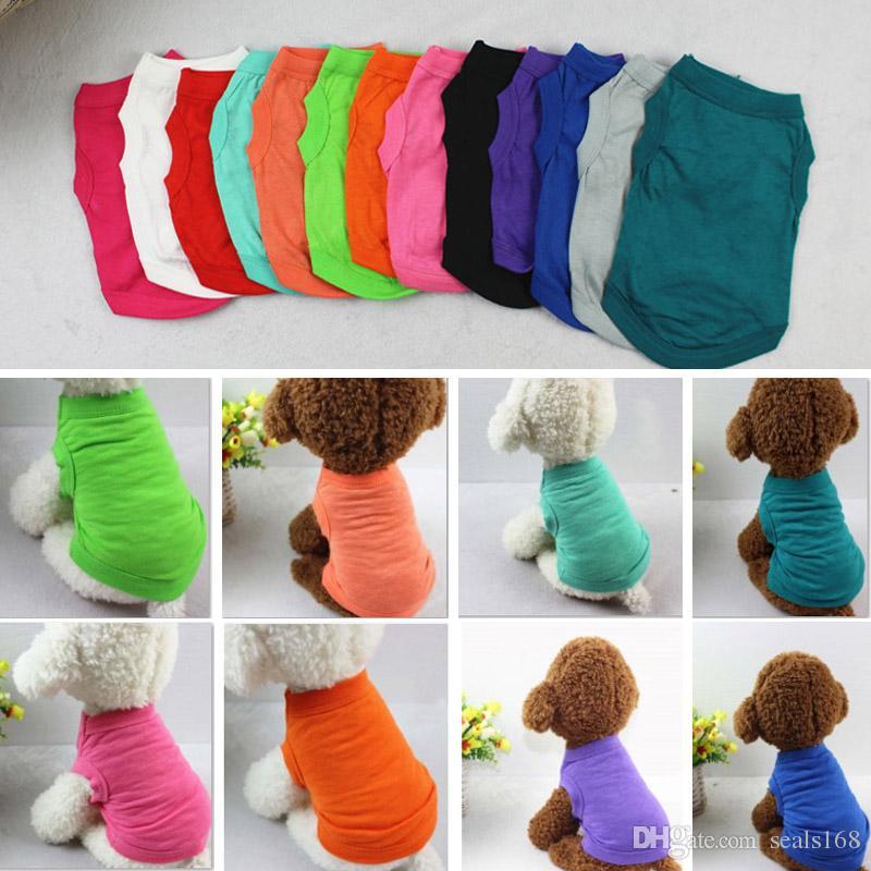 Pet T Shirts D'été Solide Chien Vêtements De Mode Haut Chemises Gilet Coton Vêtements Chiot Chien Petit Chien Vêtements Pas Cher Pet Apparel XS-2XL HH7-1486