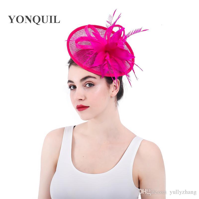 Elegant Lady Filippine Sinamay Fascinators capelli cappelli Fasce per la testa del cappello superiore del copricapo di piume donne del partito cocktail convenzionale Evento Cappello SYF315