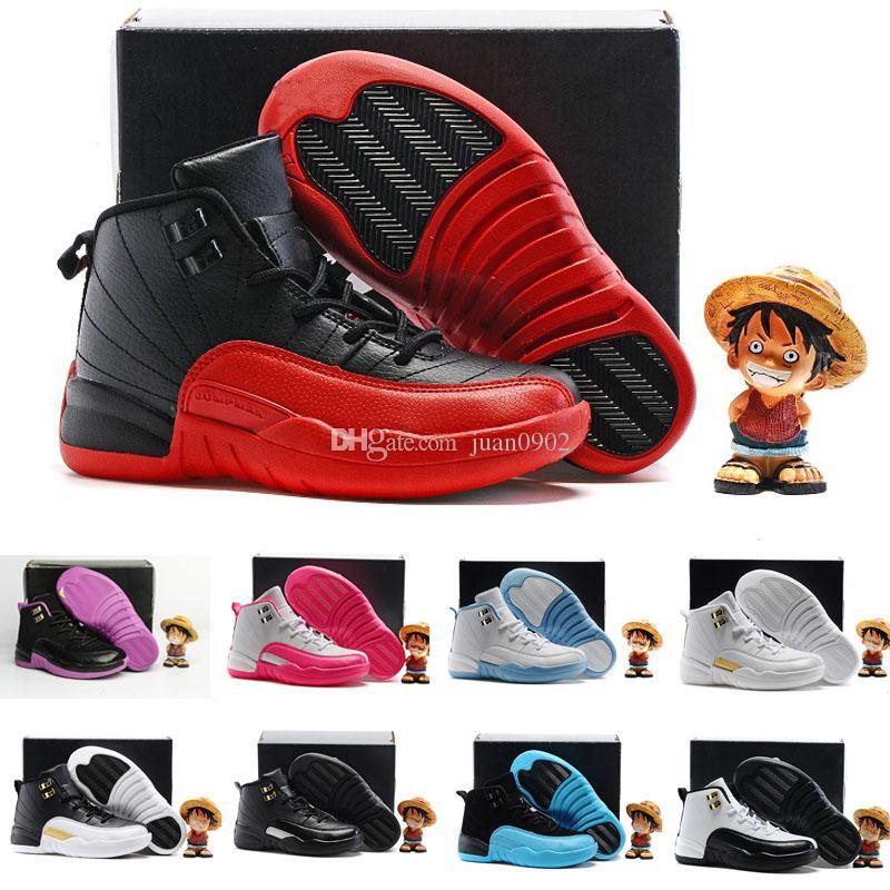 Новые 12 Дети Баскетбольная Обувь Дети 12S Высокого Качества Спортивная Обувь Молодежный Мальчик в Девочке Баскетбол Кроссовки Онлайн Продажа EU28-35