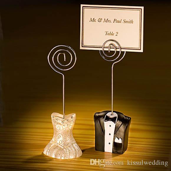 (20Pcs / Lot = 10Pairs) 신부 및 신랑의 웨딩 및 파티 장식 선물 사진 홀더 및 게스트 카드 홀더 (카드 없음)