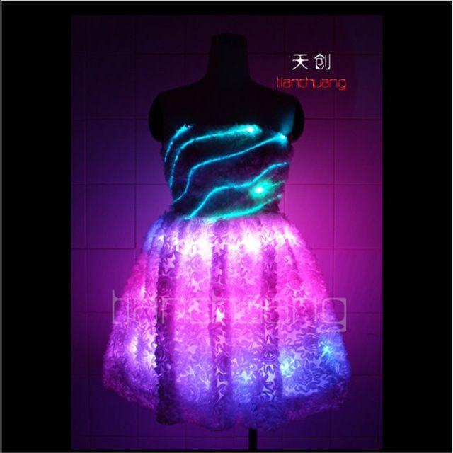 TC-7 Colorful women LED costumes Full color luminous skirt wear ballroom dance ballet RGB light dress programming sexy clothes performance