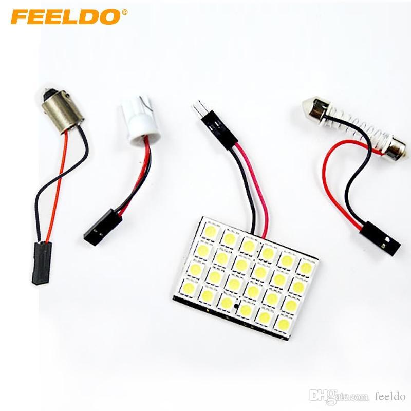 FEELDO 2Set White Car 24SMD 5050 Panneau de 3 dalles à LED avec dôme T10 / BA9S / Adaptateurs Festoon Dômes Ampoules # 1519