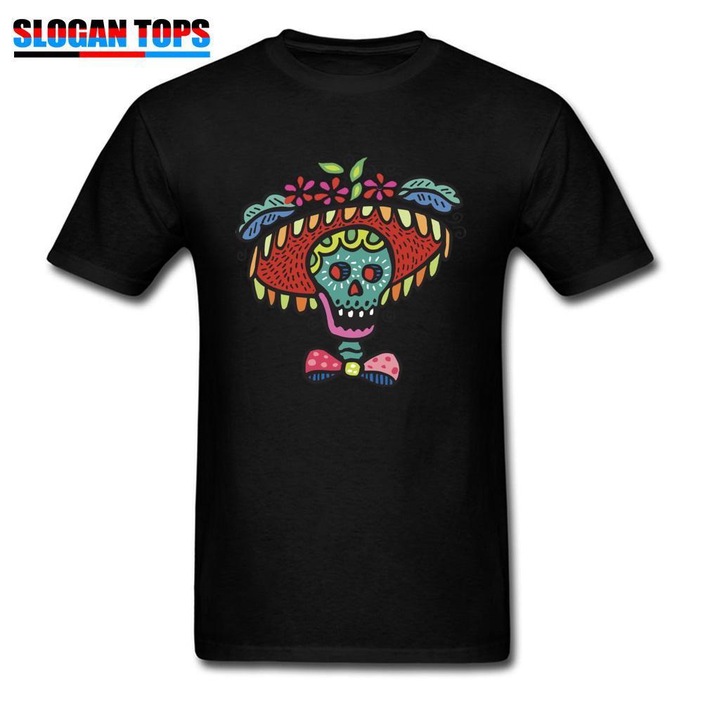 남성용 스컬 티셔츠 블랙 티셔츠 멕시코 스타일 탑스런 재밌는 Tshirt 참신 디자이너 면직물 장착 된 배송