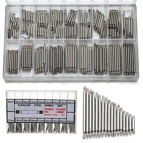 360pcs 8mm -25mm lien de barre de ressort en acier inoxydable broches outil
