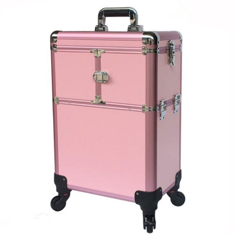 Bolsas de aluminio carro marco maquillaje bolsa de maquillaje caja caja de herramientas de equipaje caja de herramientas profesional de la maleta profesional ruedas universal multicapa ocio viaje admm