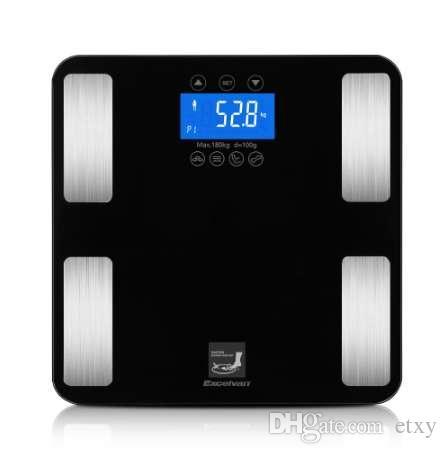 Smart Touch Вес Измерение 400 фунтов / 0,1 кг Цифровые весы Track Body Weight BMI Fat Water Calories Масляные весы для ванной комнаты