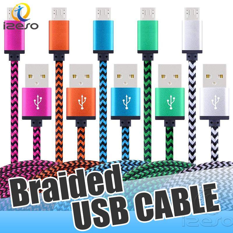 Coloré Tressé Câble de charge 3ft 6ft Type C 10ft Micro USB Sync données Chargeur Cellphone Câbles pour Samsung Note 9 LG Power Line