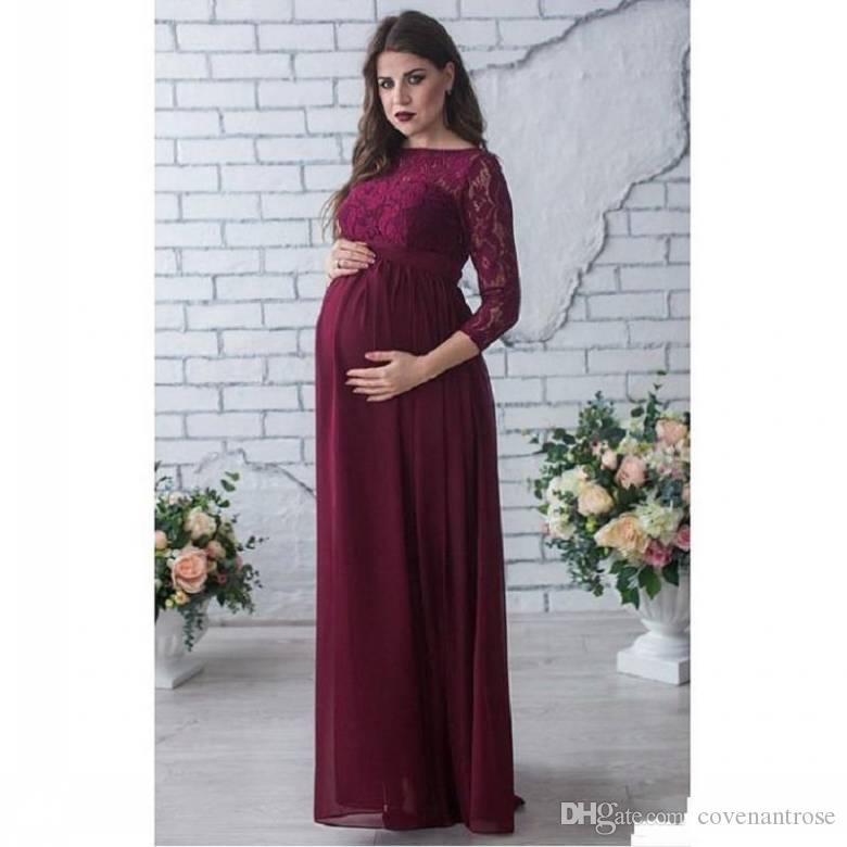 2018 Bordo Annelik Gelinlik Modelleri Kollu Şifon Ve Dantel Hamile Kadınlar Düğün Parti Elbise için Onur Törenlerinde Hizmetçi