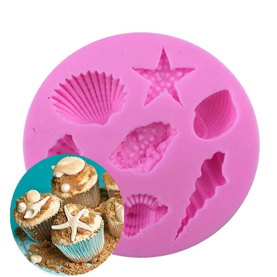 CORATED البحر شل سلسلة شكل القالب ، الخبز سيليكون 3D العفن لملفات تعريف الارتباط شمعة جيلو أدوات تزيين الكعكة فندان