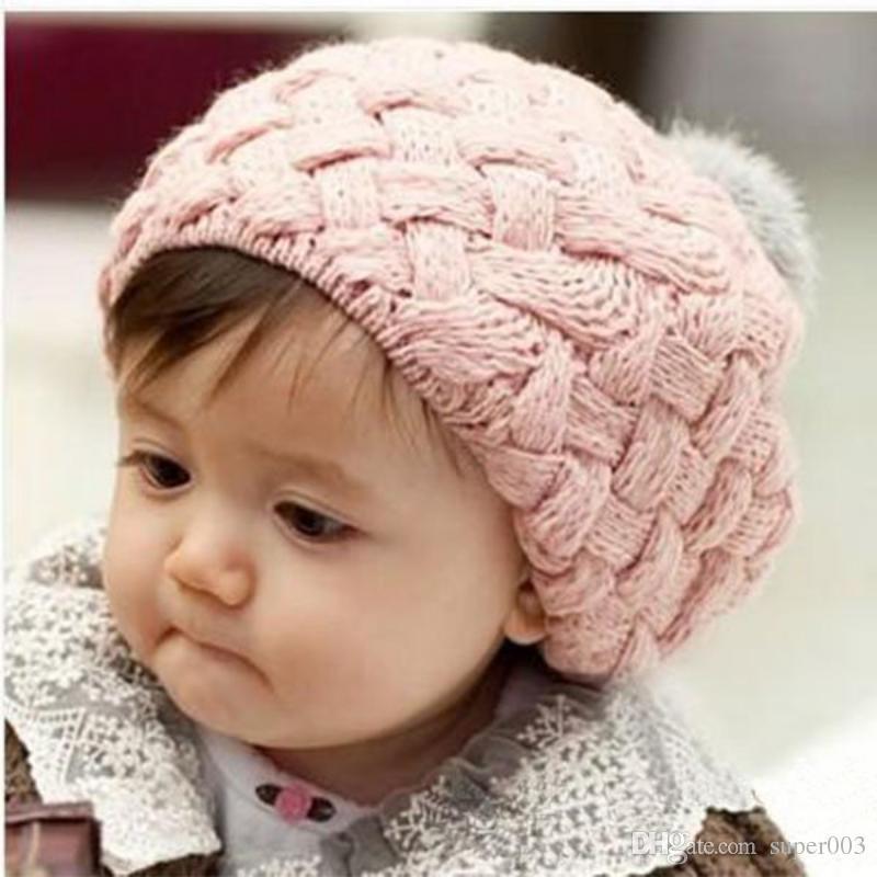 Kids Baby Children Crochet Knitting Beret Cap Cute Beanie Winter Hat 4 Colors