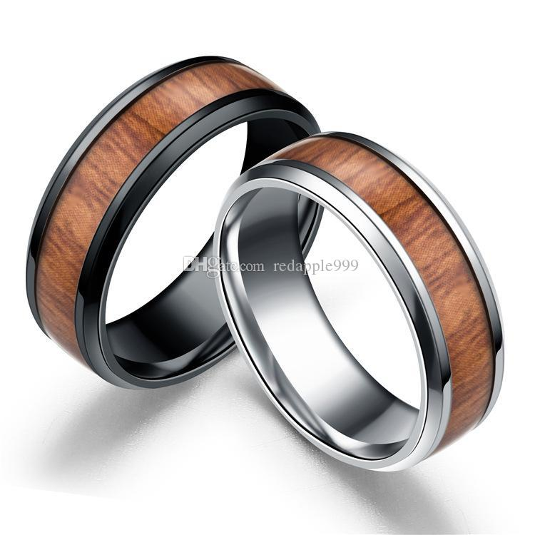 8MM Stainless steel Men's mosaic Wood grain Rings Titanium steel wooden Ring For women Men s Fashion Jewelry in Bulk