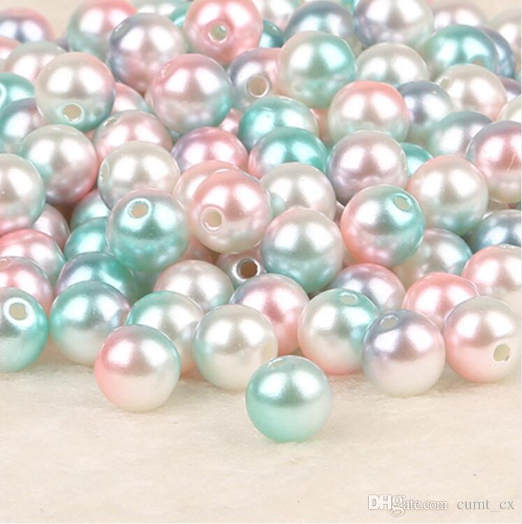 50-500 pcs Dia 4,6,8, 10mm ABS Imitação de Pérolas de Plástico Redondo de Plástico ABS Solta Pérola Beads para Colar Pulseira DIY Fazer Jóias