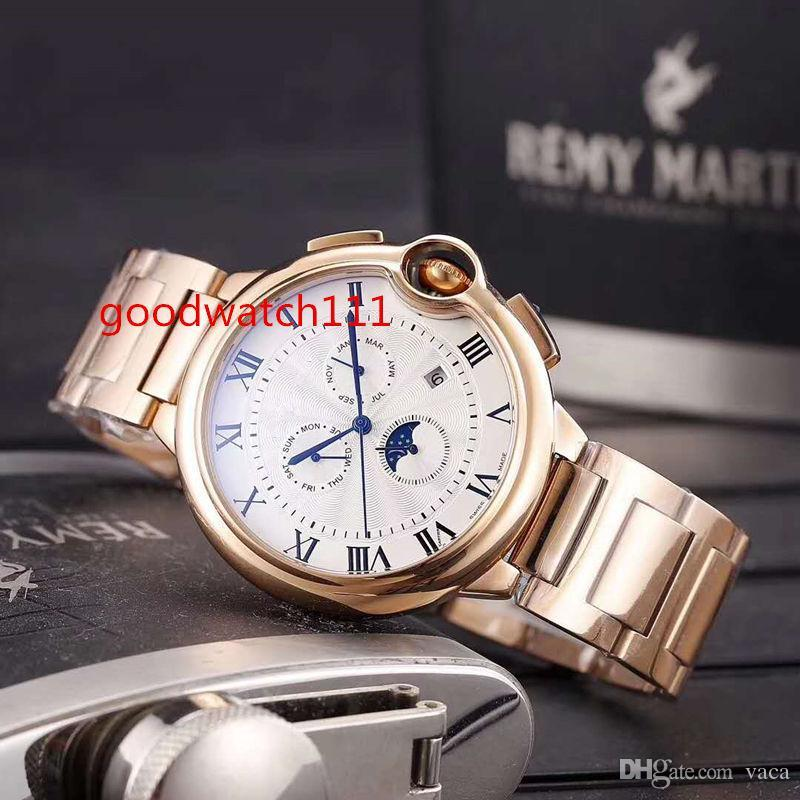 2018 nuovo orologio da uomo multifunzione da 45 mm. Orologio meccanico automatico multifunzionale. Cinturino in acciaio inossidabile