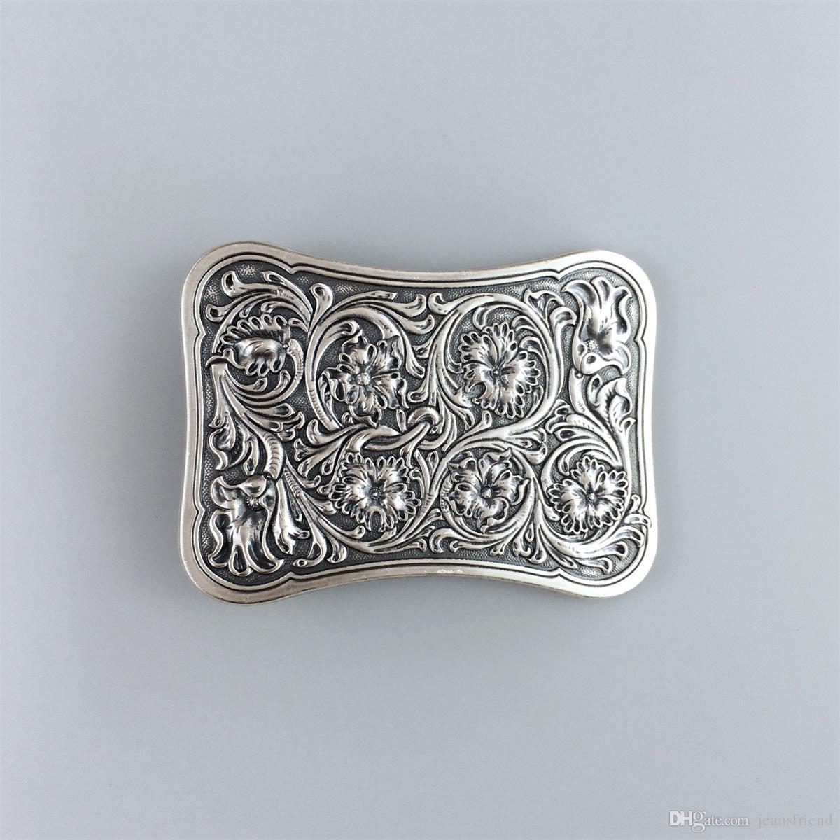 New Original Vintage Silver Plated Western Flower Southwest Rectangle Belt Buckle Gurtelschnalle Boucle de ceinture
