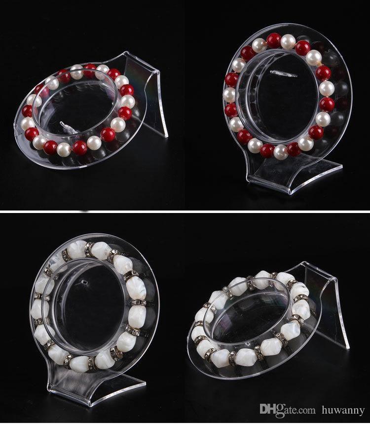 PVC Bracelets Jewelry Stand Transparent Plastic Wrist Watch Display Holder Rack Store Shop Show Bracelet Bangle Stands Wholesale 021PACK