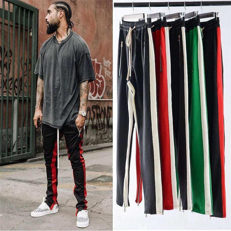 Pantalones para hombre de la cremallera rayada Diseñador Joggers Encuadre de cuerpo entero flaco Tipo de Cierre con cordón 4Color tamaño S-XXL Hip Hop Mezcla de algodón