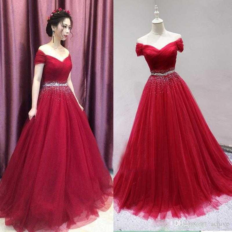 Yüksek Kaliteli Boncuklu Kristal Kırmızı Uzun Gelinlik Modelleri 2020 Tül Ucuz V Yaka Cap Kollu Nişan Elbise Akşam Parti Abiye