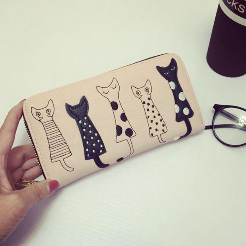 2017 Women Wallet Cat Cartoon Long Creative Female Card Holder Zip Ladies Clutch PU Leather Coin Purse ID Holder portefeuille