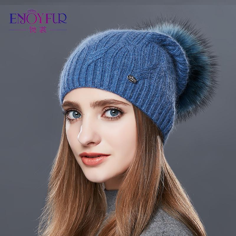 ENJOYFUR High Quality Cashmere Women Winter Hats Fashion Link Type Knitted Hat Female Girl Autumn Fur Fur Pompoms Beanies 2017