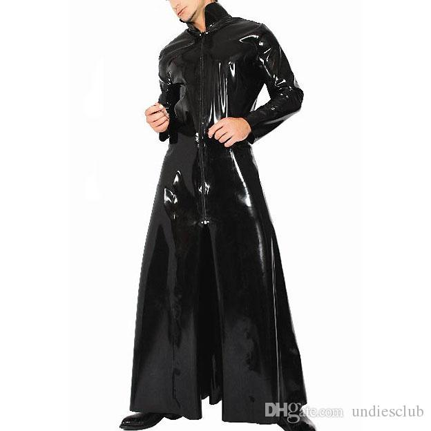 Black Men Patent Faux Leather Suits Tight Trench Stand Neck Role Glossy Leather Male Sexy Cosplay Costume Clothing (ONLY TRENCH)