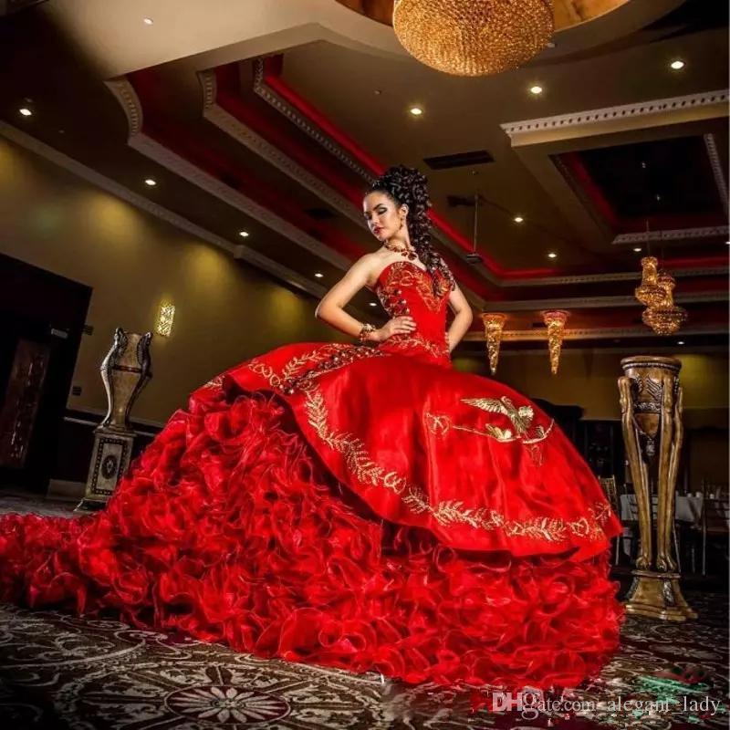 2019 Sexy Chérie Rouge Broderie Robe De Bal Quinceanera Robes Satin Dentelle Up Longueur De Plancher De Festa Sweet 16 Robe
