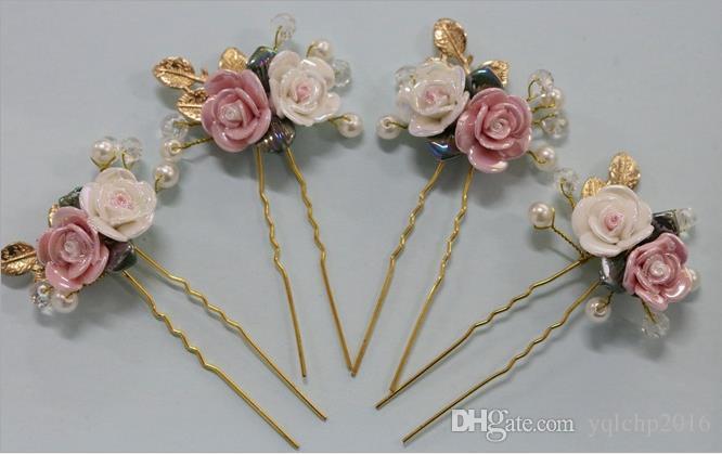 Sombreros de novia, mano de boda, horquilla, porcelana dorada, sombreros de novia, adornos de novia