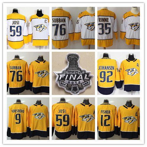 2018 Nashville Predators 76 PK Subban 35 Pekka Rinne 59 Roman Josi 92 Ryan Johansen Mike Fisher Maglia da hockey 2017 Stanley Cup Final