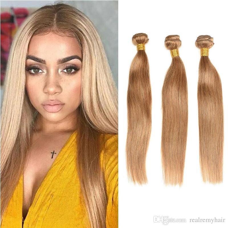 New Arrive Brazilian Honey Blonde Hair Bundles #27 Colored Straight Human Hair Extension Unprocessed Brazilian Virgin Hair Weaves