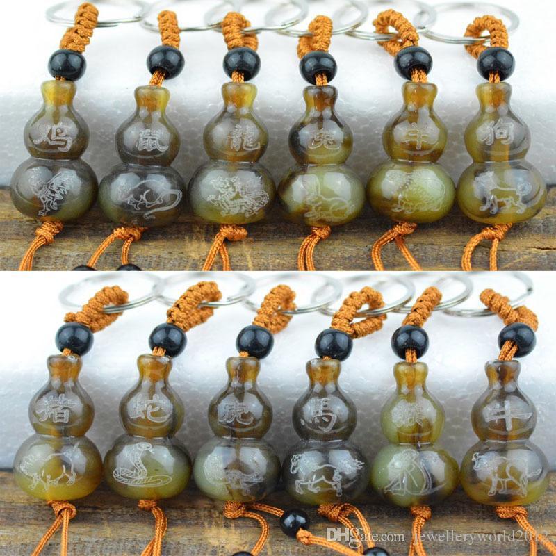 منحوتة ذات المناظر الخلابة بقعة تقليد القرن قلادة مفتاح سلسلة مفتاح سلسلة من الأبراج الصينية سلسلة المفاتيح تصميم المزيج