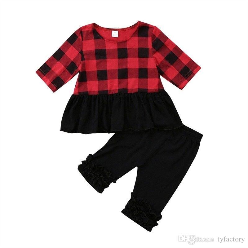 England Style Kids Baby Girl Clothing Dress Top Pants 2-piece Set Outfit Half Sleeve Black Red Checks Kid Girl Clothes Costume 1-6Y